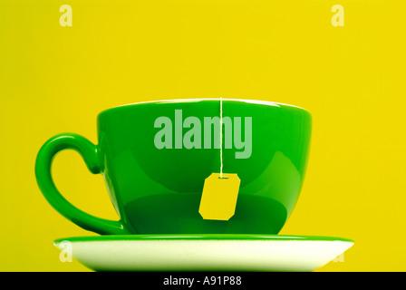 cup of tea with teabag Teetasse mit Teebeutel - Stock Photo