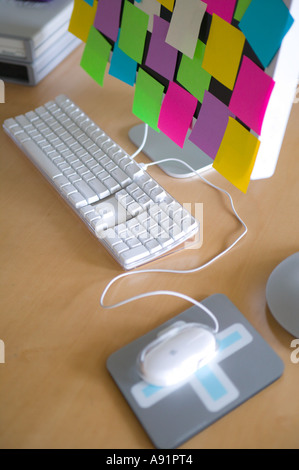 post it notes on computer monitor stock photo 6984208 alamy. Black Bedroom Furniture Sets. Home Design Ideas
