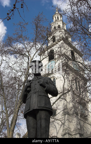 Statue of Air Chief Marshal Lord Dowding Fighter Command Royal Air Force 1936 1940 London England - Stock Photo