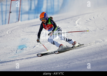 Reinhild Moeller LW4 of Germany on her first run of the Womens Alpine Skiing Giant Slalom Standing competition - Stock Photo