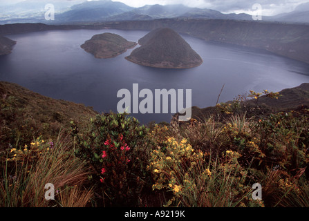View from the rim hike Laguna Cuicocha guinea pig lake in northern Ecuador - Stock Photo
