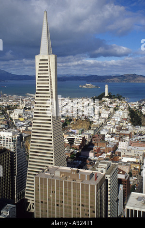 San Francisco, California. Transamerica Building, Coit Tower on Telegraph Hill, Alcatraz Prison in San Francisco - Stock Photo