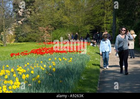 Paris FRANCE, Families Walking in Park, Enjoying Nature 'Bagatelle Garden' Early Spring Sunday - Stock Photo