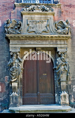Toulouse France, Attractive Old Architecture, Front Door of Private Apartment Building in Center of Old Town, Stonework - Stock Photo