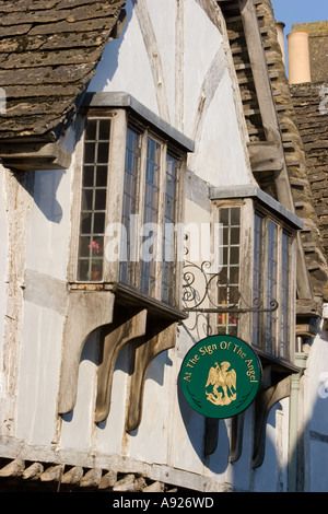 Sign of the Angel public house in Lacock - Stock Photo