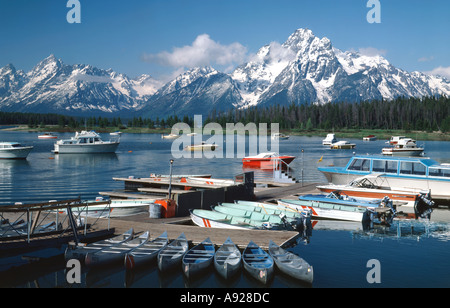 Grand Teton National Park in Wyoming showing Mount Moran from the small boat marina in Colter Bay on Jackson Lake - Stock Photo