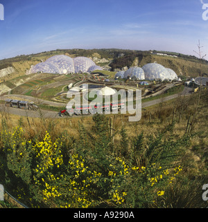Very wide angle Fisheye lens view over landscape grounds and Biome domes of The Eden Project Cornwall England - Stock Photo