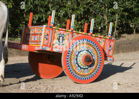 Traditional hand decorated ox cart at Monteverde, Costa Rica. - Stock Photo