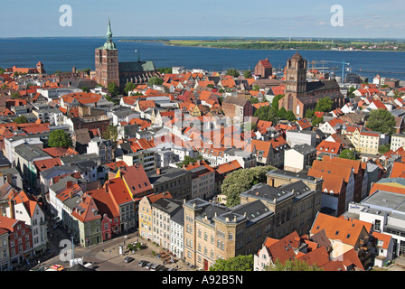 View from St. Mary's church, Hanseatic city of Stralsund, Mecklenburg Western Pomerania - Stock Photo