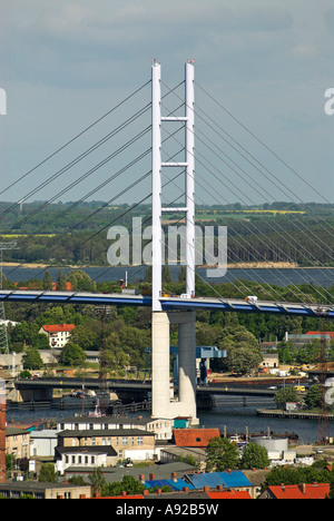 New bridge to Ruegen island, Hanseatic city of Stralsund, Mecklenburg Western Pomerania - Stock Photo