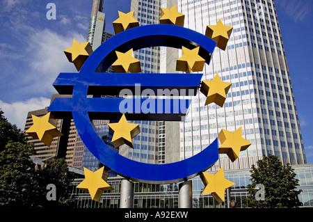 Euro-sculpture, Willy-Brandt-Platz , Frankfurt/Main, Hesse, Germany, Europe - Stock Photo
