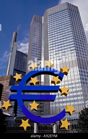 Euro-sculpture, Willy-Brandt-Platz, Frankfurt/Main, Hesse, Germany, Europe - Stock Photo