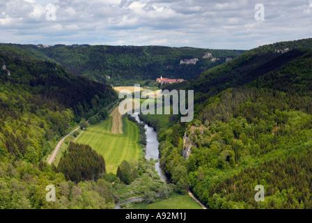 Danube valley - Overview, Swabian Alb, Baden-Wuerttemberg, Germany, Europe. - Stock Photo