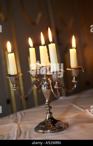 Silver candle holder - Stock Photo
