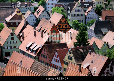 Old town of Dinkelsbuehl, Bavaria, Germany - Stock Photo
