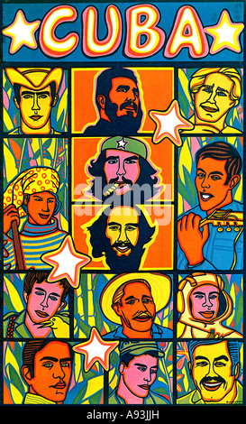 Cuban Heroes 1968 political poster celebrating the heroes of the socialist revolution headed by Castro and Che Guevara - Stock Photo