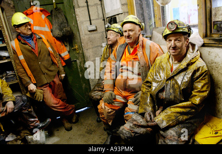 Coal miners at the newly re opened Unity Mine Cwmgwrach near Neath Wales UK GB EU - Stock Photo