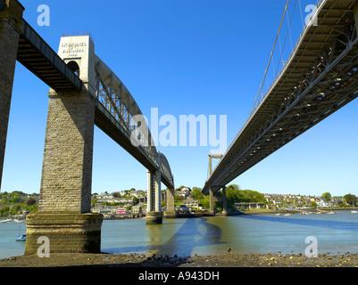 Tamar bridge Isambard Kingdom Brunel The Royal Albert Bridge over the river seven - Stock Photo