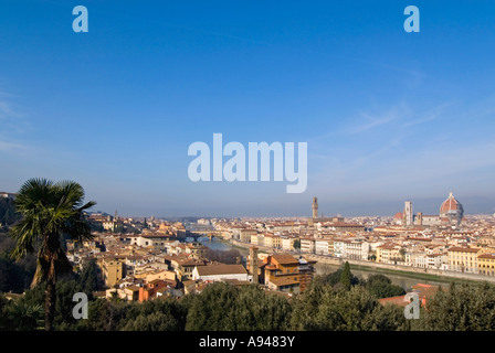 Italy, Florence, Piazzale Michelangelo Jan 2007 Horizontal aerial wide angle view of Florence - Stock Photo