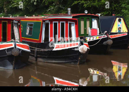 Narrow Boats Moored on the Llangollen Canal at Wrenbury Mill Cheshire - Stock Photo