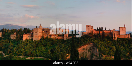 Sunset Alhambra Palace Granada - Stock Photo