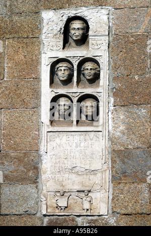 1st Century Roman Tombstones in the Archi di Porta Nuova Milan Italy - Stock Photo