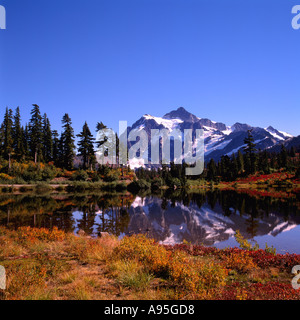 Mt Shuksan reflecting in Picture Lake in 'Heather Meadows', Mount Baker - Snoqualmie National Forest Area, Washington, - Stock Photo