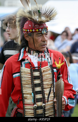 North American Indian Chief At Pow Wow In Ontario Canada