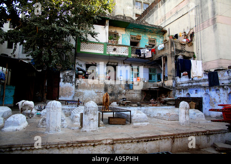 Houses in the old city of Ahmedabad, Gujarat, India - Stock Photo