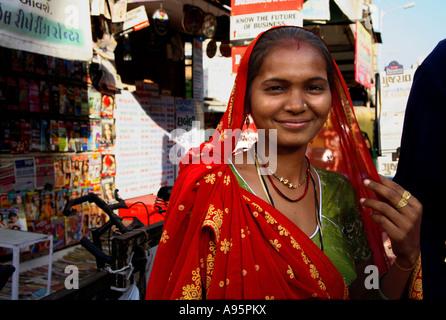 Indian woman in street, Ahmedabad, Gujarat, India - Stock Photo