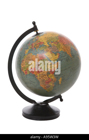 Antique Globe cut out on white background - Stock Photo