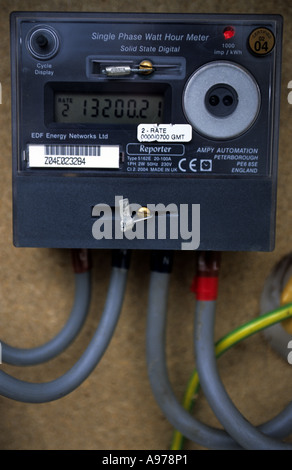 Digital domestic electric meter at a property in Woodbridge, Suffolk, UK. - Stock Photo