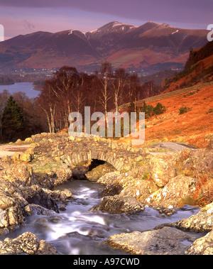 Ashness Bridge and Catbells in Autumn Near Keswick Lake District National Park Cumbria England UK - Stock Photo