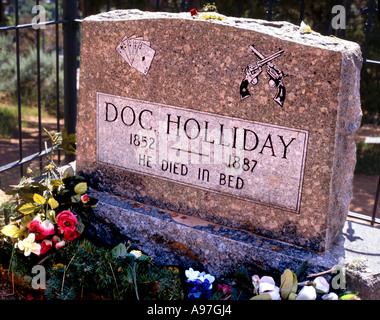 Doc Holliday's tombstone in Glenwood Springs Rocky Mountains Colorado USA 1852-1887  'He died in bed' - Stock Photo