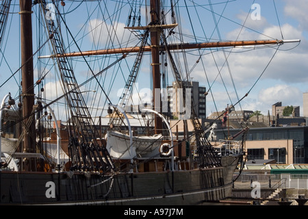 RRS Discovery ship being repaired at the Discovery Point dry dock on the waterfront in Dundee, UK - Stock Photo