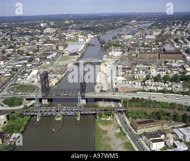 Aerial view of Passaic River, Newark, New Jersey, U.S.A. - Stock Photo