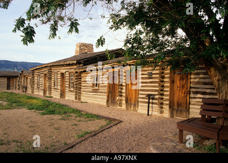 RECONSTRUCTED BUILDINGS AT HISTORIC FORT CASPAR ALONG THE OREGON TRAIL, CASPER, WYOMING. SUMMER. - Stock Photo