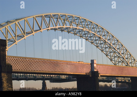 Runcorn road bridge and railway bridge in Cheshire - Stock Photo