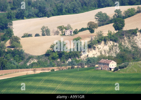 beautiful ,scenic and panoramic view of the rolling farm landscape  in Le Marche Italy - Stock Photo