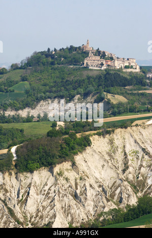 beautiful ,scenic and panoramic View from San Vittorio in Le Marche Italy - Stock Photo