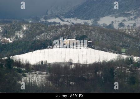 Sibillini vinyard in winter snow ,Le Marche ,Italy - Stock Photo