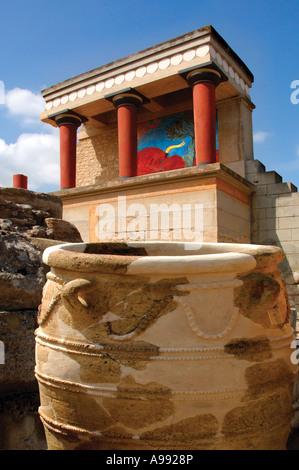 Minoan Palace of Knossos Crete Greece With fresco of the minos bull - Stock Photo