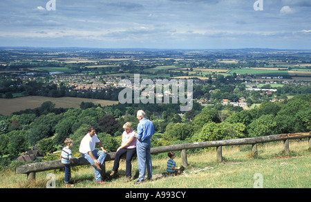 The view from Whiteleaf Hill on the Ridgeway National Trail near Princes Risborough Buckinghamshire England - Stock Photo