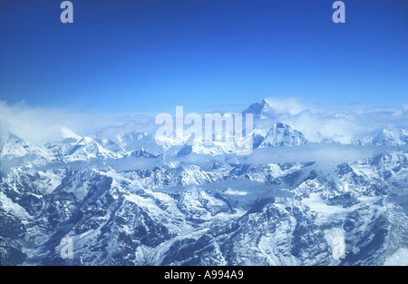 Mount Everest Nuptse and the Himalayas aerial photo taken from plane cockpit Nepal Asia - Stock Photo