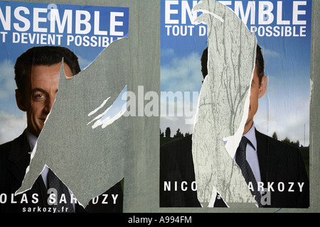 Nicolas Sarkozy a for presidential election posters 2007 - Stock Photo