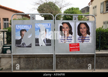 Nicolas Sarkozy and Segolene Royal for presidential election posters 2007 - Stock Photo