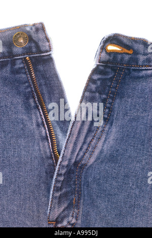 Front view of a pair of denim jeans - Stock Photo