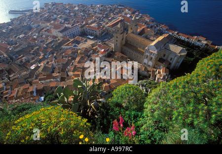 Cefalu from La Rocca North Coast Sicily Italy - Stock Photo