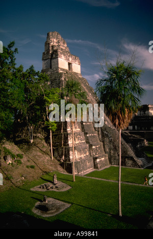 The Temple of the Jaguar in the Mayan ruins at Tikal located in the jungle of the Peten Department in northern Guatemala - Stock Photo
