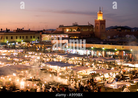 Aerial view over the open air food stalls in the central square of Djemaa El Fna in Marrakesh Morocco - Stock Photo